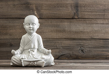 sentando, buddha., branca, statue., relaxante, conceito