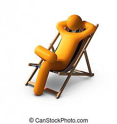 sentando, coberta, cadeiras, desfrutando, férias