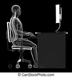 sentando, correto, postura