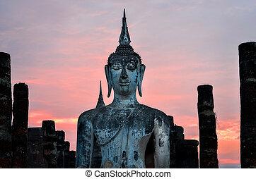 sentando, detalhe, buddha, tailandia, sukhothai, pôr do sol