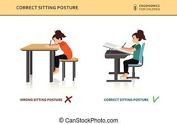 sentando, ergonomic., pose, correto, errado, crianças