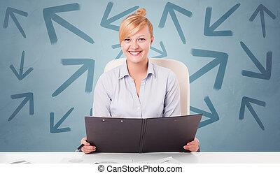 sentando, escrivaninha, direção, pessoa, conceito, negócio