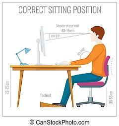 sentando, espinha, vetorial, computer., infographics,...