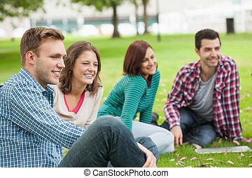 sentando, estudantes, rir, capim, casual, feliz