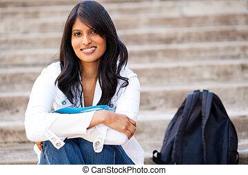 sentando, faculdade, aluno feminino, ao ar livre