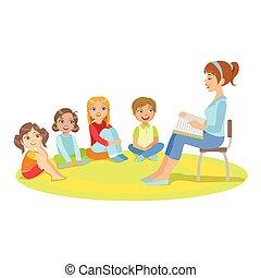 sentando, história, pequeno, professor, grupo, crianças, ao redor, leitura