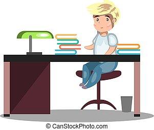 sentando, homem, escrivaninha