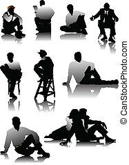 sentando, homens, silhuetas