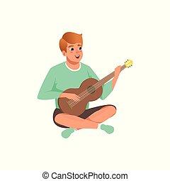 sentando, ilustração, guitarra, vetorial, cruzado, fundo, acústico, branca, pernas, tocando, homem