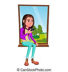 sentando, isolado, ilustração, triste, janela, vector., menina