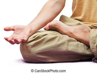 sentando, isolado, posição, meditação, branca, homem