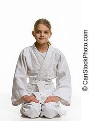 sentando, judo, menina, chão, classe