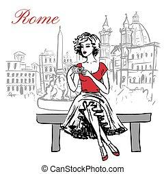 sentando, mulher, banco