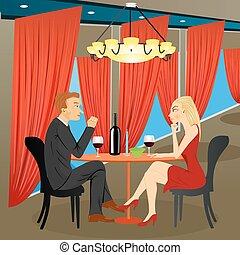 sentando, mulher, homem, restaurante