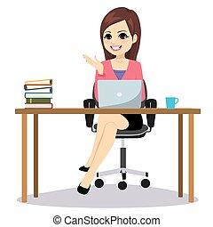 sentando, mulher, isolado, negócio, escrivaninha