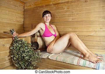 sentando, mulher, sauna
