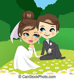 sentando, newlyweds, jardim
