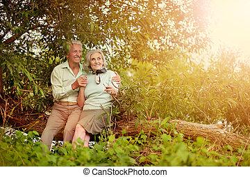 sentando, par, árvore, maduras, tronco, amando