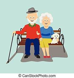 sentando, par, banco, sênior, filhote cachorro, feliz