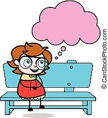 sentando, pensando, -, ilustração, vetorial, adolescente, menina, inteligente, caricatura