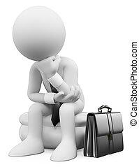 sentando, pensando, pessoas., homem negócios, branca, 3d