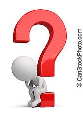 sentando, pergunta, pessoas, -, pensador, pequeno, 3d