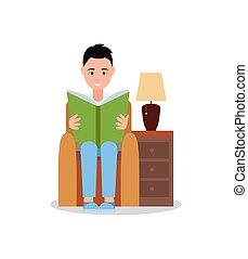 sentando, poltrona, ilustração, vetorial, cartaz, homem