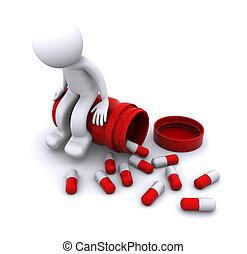 sentando, pote, personagem, doente, pílula, 3d
