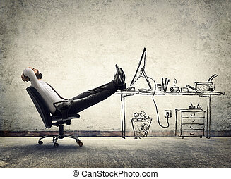 sentando, -, relaxe, homem, escritório