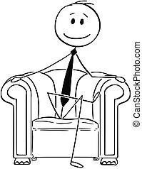 sentando, sucedido, caricatura, clube, homem negócios, ...