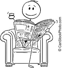 sentando, sucedido, jornais, homem negócios, cadeira, ...