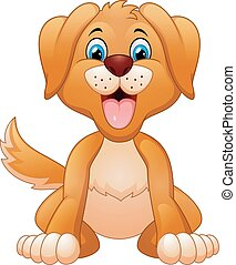 sentando, tolo, cão, caricatura