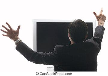 sentando, tv, -, alegrando, lcd, frente, homem