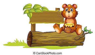 sentando, urso, tronco
