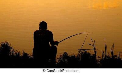 sentando, vara, costas, pesca, lagoa, homem, vista