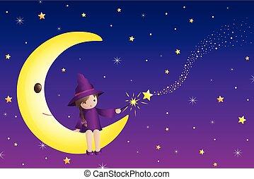 sentando, wizard, metade, menina, pequeno, lua, ilustração