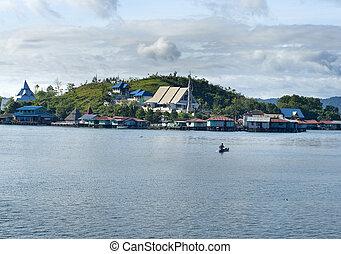 sentani, lac île, maisons, guinée, nouveau