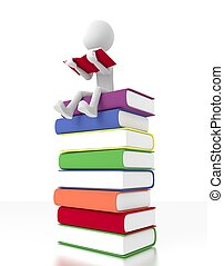 sentarse, book., persona, libros, pila, lectura, 3d