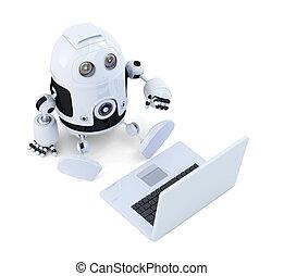 sentarse, laptop., robot
