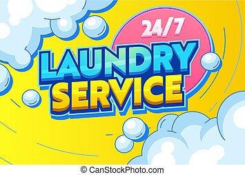 sentença, agitação, cliente, roupa, tecidos, uso, serviço, banner., secar, solvent., químico, apartamento, lavanderia, ilustração, limpeza, caricatura, secos, lavando, tipografia, vetorial, enxaguar, ironing.
