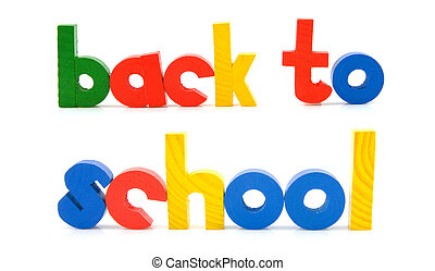 sentence Back to school in wooden colorful letters