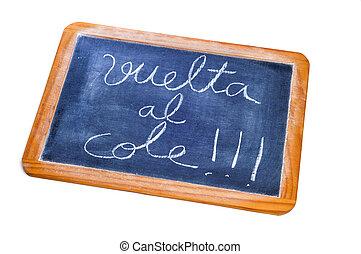 back to school written in spanish