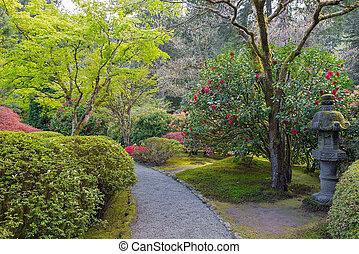 sentier, à, jardin japonais
