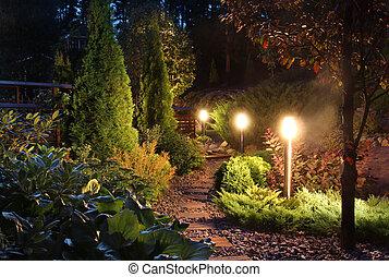 sentier, éclairé, patio, jardin