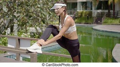 sentier, étirage, piscine, sportive, content, jambe, ...