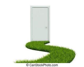 sentier, blanc, herbe, porte, isolé