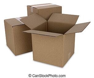 sentier, boîtes, carton