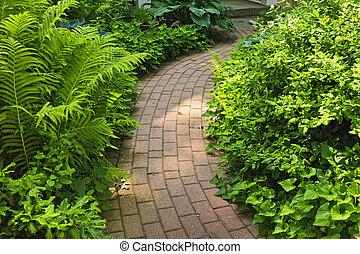 sentier, brique, aménagé, jardin