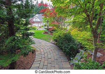 sentier, brique, frontyard, jardin
