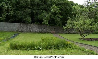 sentier, brique, yard, mur